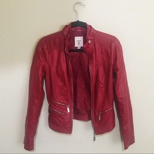 Guess Red Leather Moto Biker Jacket